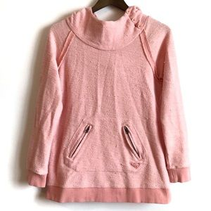 ROXY Cozy Button Hoodie Sweater Top Pink